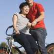 Portrait of Asian couple on bicycle — Stock Photo #13233111