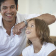Father and son smiling for the camera — Stock Photo