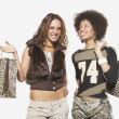 Young women shopping together — Foto Stock