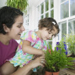 Mother and her daughter gardening in a greenhouse - Stock Photo