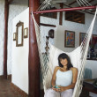 South American woman in hammock — Foto Stock