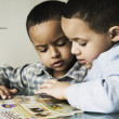 African brothers doing homework — Stock Photo