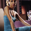 Stock Photo: Portrait of Africwomwearing evening gown