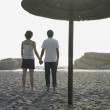 Foto Stock: Young couple holding hands underneath umbrellon beach
