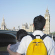 Young couple viewing London England — Stok fotoğraf