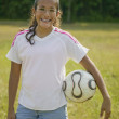 Hispanic girl holding soccer ball — Stock Photo
