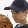 Portrait of boy with baseball mitt — Stock Photo
