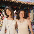 Hispanic girl and friend at Quinceanera — ストック写真