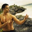 Mixed Race man practicing Tai Chi — Stock Photo