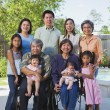 Multi-generational Asian family smiling outdoors — Stock Photo #13234033