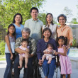 图库照片: Multi-generational Asifamily smiling outdoors