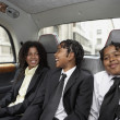 Students riding in the backseat — Foto Stock