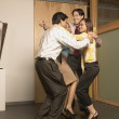 Stock Photo: Businesspeople jumping for joy
