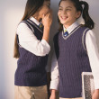 Stock Photo: Two school girls in uniform whispering