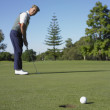 Asian man putting on golf course - Photo