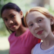 Portrait of two girls - Stock Photo