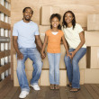 African family in back of moving truck — Stock Photo