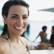 South American woman in bathing suit — Stock Photo