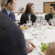 Businessman eating lunch — Stock Photo
