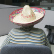 Rear view of woman in office wearing sombrero — Stock Photo