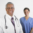 Portrait of multi-ethnic male and female doctors - Stock Photo