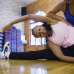 Two women doing exercises — Stock Photo
