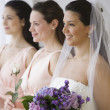 Hispanic bride and bridesmaids in row — Stock Photo #13235456