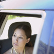 Woman looking out passenger window - Stock Photo