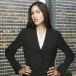 Businesswoman posing in front of city landscape — Stock Photo #13235500