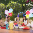 childs birthday party outdoors — Stock Photo