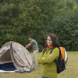 Portrait of Indian woman at campsite — Stock Photo