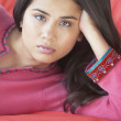 Close up of woman on sofa — Stock Photo