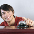 Portrait of man ringing bell — Stock Photo