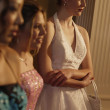 Teenage girls waiting for a dance partner — Stockfoto