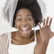 African bride showing off ring — Foto Stock