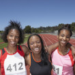 Stock Photo: Portrait of female track athletes