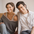 Young Hispanic couple smiling — Stok fotoğraf
