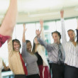 Businesspeople cheering — Stock Photo