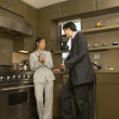 Two business talking in kitchen — Stock Photo