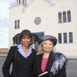 Senior African American women in front of church — Stock Photo