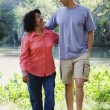 Hispanic mother and adult son walking outdoors — Stock Photo #13237005