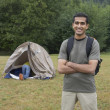 Portrait of Indian man at campsite — Stock Photo