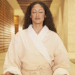 Stock Photo: Womin robe meditating