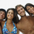 South American couples hugging — Stock Photo