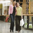 Mixed Race women carrying shopping bags — Stock Photo