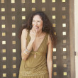 Hispanic woman laughing  — Stock Photo