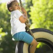Boy on tire swing — Stock Photo