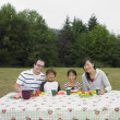 Portrait of multi-ethnic family eating at picnic table — Stock Photo