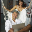 South American couple with laptop — Stock Photo