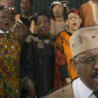 Group of middle-aged African singing — Stock Photo